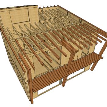 Progetto tetto leggero con abete lamellare all'interno e larice massiccio all'esterno